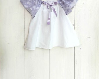 Baby cotton and lace blouse, baby cotton shirt, toddler blouse, girls blouse, Lace baby top