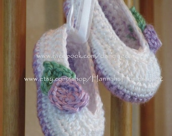 Baby Rosey Ballet Slippers with Ribbon, Lavender/White, Hannahs Homestead2