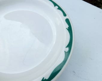 "Seven Buffalo restaurant china green crest bread or dessert plate - 1960's - 72 - bread plate or small dessert - 6 3/8"" diameter"
