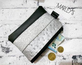 Coin purse wallet, Zipper pouch wallet, Vegan leather wallet women, Coin purse zipper, Silver leather purse, Change purse, Coin zipper bag