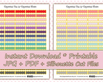 Gold Edged Scalloped Boxes Printable Planner Stickers