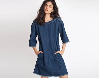 Oversized Denim Sack Dress