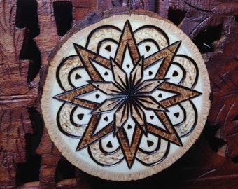 """2.5"""" Holz verbrannt Magnet - handgefertigte Holz Magnet Mandala Magnet, böhmische Magnet"""