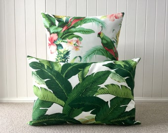 Outdoor Tommy Bahama Lumbar /Cushion / Pillow Cover Tropical Green  and White Palm Leave/ Banana Leave/Beach House