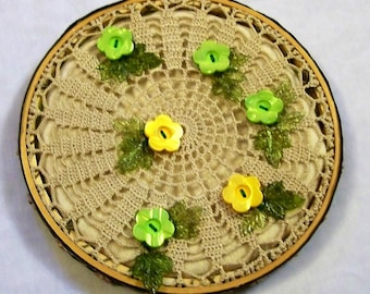Hoop Art,  Hanging, Button Hoop Art, Hoop Wall Art, Springtime Flowers Wall Hanging