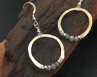 Genuine Diamond Hoop Earrings, Mixed Metal Earrings, silver, gold earrings, 2cts tw diamonds, earrings under 300