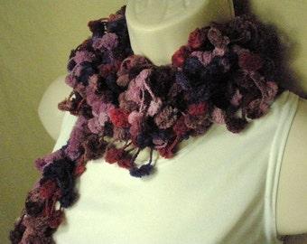 Purple Violet Pom Pom Scarf