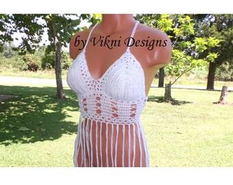 White Fringe Halter Top, Criss Cross Crochet Fringe Top by Vikni Designs