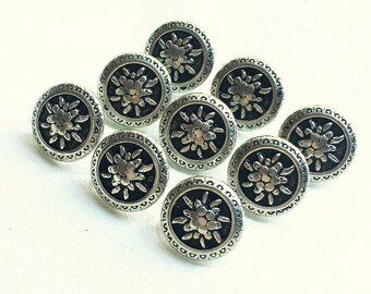 small antiqued silver tone detailed floral design shank buttons--matching lot of 9