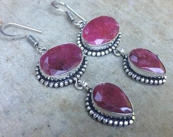 Vintage silver and Ruby Earrings, Bohemian earrings, earrings boho-chic. Ruby earrings handmade