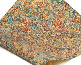 Hand-Marbled Paper Imported From Italy - Curled Stone - Red/Blue/Yellow