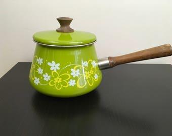 Enamel Pot Sauce Pan Vintage 1970s Fondue Green Avocado Floral Mod MCM Midcentury Wood Handle Retro