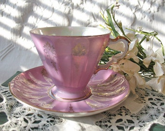 Vintage Pink Lusterware Footed Tea Cup & Saucer    Made in Japan  Mid Century  TeaTime  Victoria Downton Abbey Tea Cottage Shabby Chic