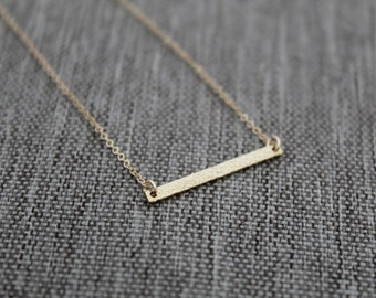 14k Gold Filled Bar Necklace / Unique Textured Bar Necklace / Gold Bar / Layering Necklace