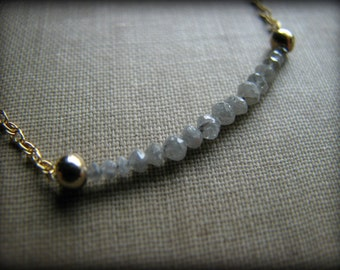 Faceted Diamond Gold Filled Necklace - HIGH QUALITY Faceted Gemstone - Gift Christmas Birthday Anniversary Wife Girlfriend Mother