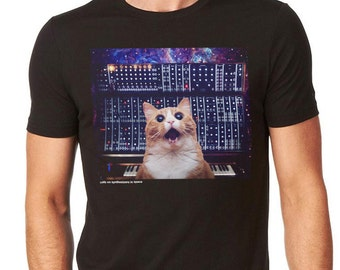 Cats On Synthesizers In Space - Modular Cat T-Shirt