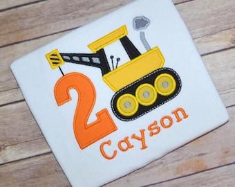 Construction truck birthday shirt, Crane birthday shirt, boy birthday shirt, construction party, toddler birthday tshirt, birthday outfit
