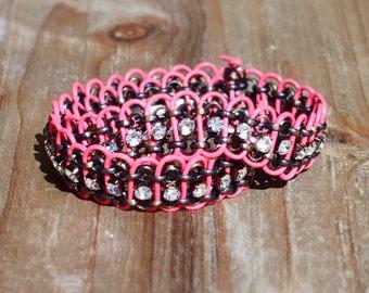Rhinestone and pink leather double wrap bracelet