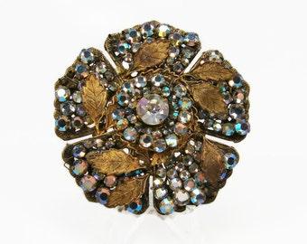 Miriam Haskell Rhinestone Brooch, Vintage Jewelry, AB Rhinestone, 1950s Jewelry, Crystal Brooch, Flower Pin, Rhinestone Pin, Estate Jewelry