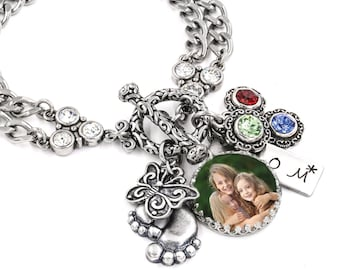 Mother's Jewelry - Photo Bracelet - Pictures of Children - Engraved Charm - Kids Photos