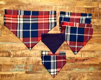 Navy and Orange Plaid Flannel Reversible Dog Collar Bandana