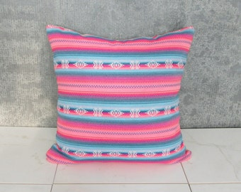 Pink and Blue Argentina Pillow Cover / Ethnic Textile Cushion Cover Decorative Throw South American Bright Colorful Hand Spun Loom Woven Bed