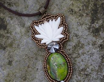 """zen lotus necklace, ocean green jasper """"Billy"""""""