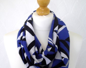 Infinity scarf loop scarf muliticoloured scarf blue white black