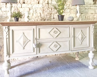 gorgeous buffet footed hardwood oak weathered linen color
