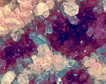 Quartz Minerals photography gem crystal cluster 8x8 print blue pink purple sparkle square photo minerology