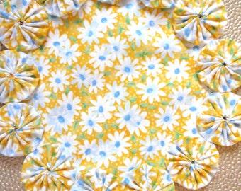 White Daisies on Yellow Doily