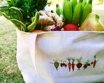 ROOT VEGGIES Jumbo Canvas Eco-Friendly Tote Bag for Grocery Shopping and Farmers Market Travel Books  Purse