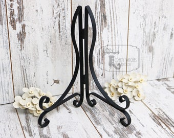 Black Metal Scroll Stand, Sign Stand Add On