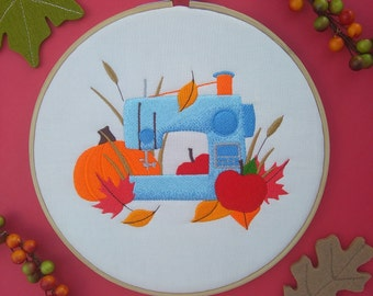 Autumn Sewing Machine embroidery hoop art