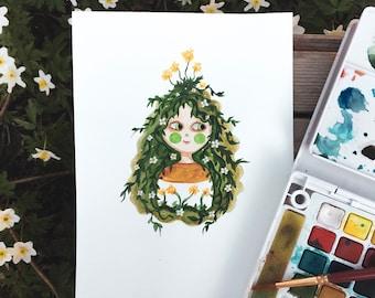 Girl plant - Original watercolor illustration