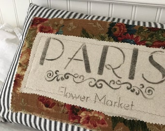 "French Country Black and White Ticking ""Paris"" stencilled pillow"