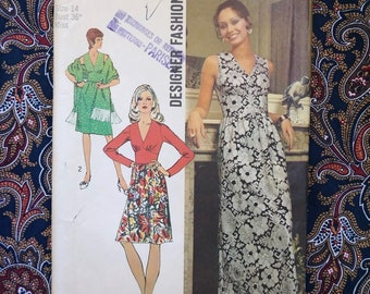 Vintage 1970s Pattern 70s Maxi Dress Shawl Simplicity 5350 Boho Disco B36