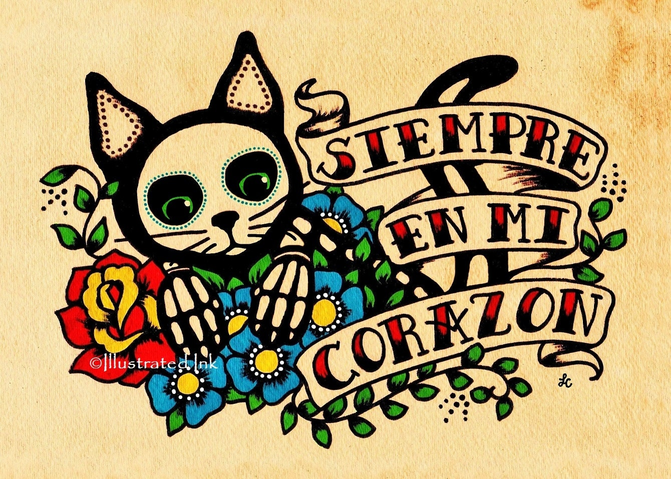 Day of the Dead CAT Dia de los Muertos Art Print 5 x 7 8 x 10