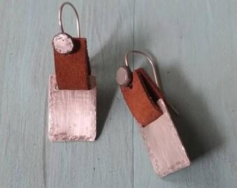 Dangling Sterling Silver earrings, Leather and Silver earrings