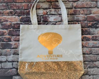 Adventure Is Out There Glitter Tote in Gold
