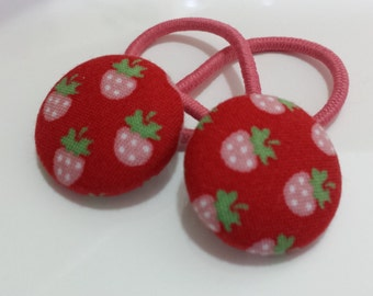 Bitty berries Strawberries - Ponytail holders - fabric covered button hair ties