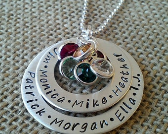 Mom Birthstone Name Necklace - Hand Stamped 925 Mother Necklace - Family Necklace - Layered Washer Necklace - Grandkids Necklace