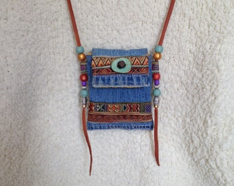 Denim Necklace Pouch - Upcycled Denim Medicine Bag - Tribal Pouch - Boho Denim Necklace Pouch