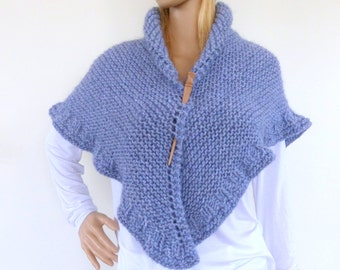 Blue Knit Cape , Pastel Blue Hand knit shawl, hand knitted wrap, Chunky knit shawl in denim blue , blue wrap