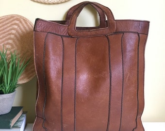 Vintage Leather Tote Bag, Handbag , Purse, Brown Leather
