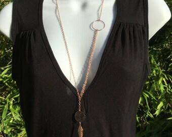 Necklace plated Rose Gold Rose leaf