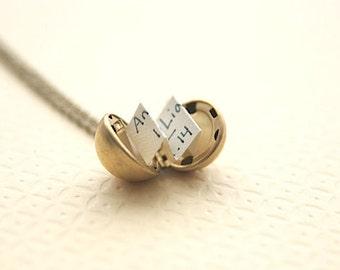 Brass Ball Locket | Personalized Locket Necklace  | Secret Message Locket Necklace | Wedding Party Gifts | Custom Jewelry | Friend Gift