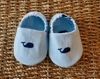 Whale Baby Shoes, Crib Shoes, Soft Sole Baby Shoes, Baby Bootie, Baby Moccs, Baby Moccasins, Baby Booties, Baby Shower Gift