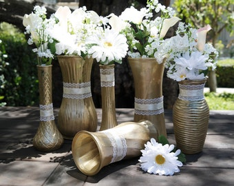 Wedding Centerpiece, Gold Color Painted Distressed Glass Vases, Shabby Chic Centerpieces, Rustic Wedding Centerpiece