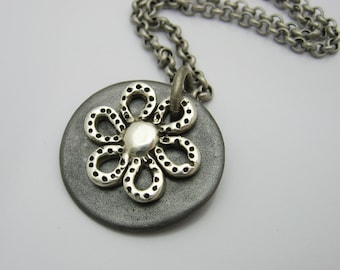 Silver Flower Necklace, Handmade Flower Necklace, Mixed Metal Necklace, Spring Fashion Necklace, Summer Fashion Necklace, Handmade Gift